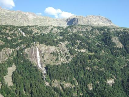View of La Fare waterfall from Chalet du Verney